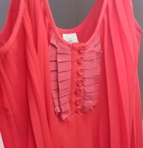 Free People Red Pleated Top